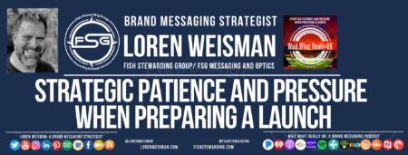 Main text reads Strategic patience and pressure when preparing a launch. The rest of the image has social media icons, a picture of loren weisman and website addresses.