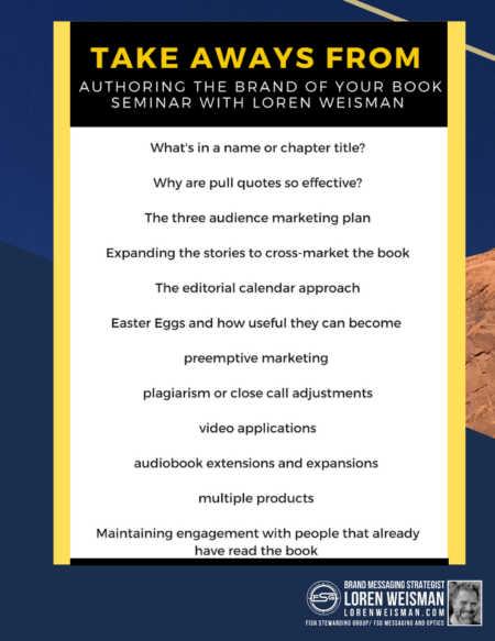 a list of take aways from the branding an authentic book talk title with a blue back ground and a bullet list of ideas.