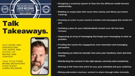 A talk takeaways graphic with an image of Loren Weisman, the FSG logo as well as a great deal of text listing out the takeaways from the Loren Weisman talk title.