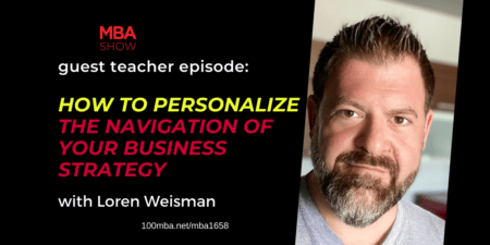 The 100 MBA show graphic with an image of Loren Weisman and text.