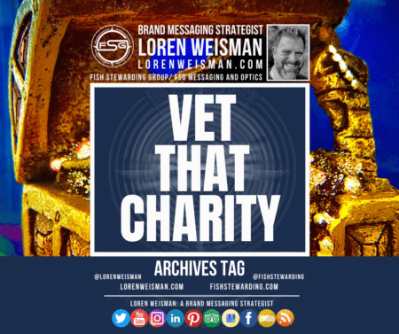 An archives tag with the title that reads vet that charity with an image of a treasure trest in gold in the background with social media headers.