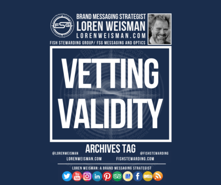 An archives graphic with the title that reads vetting validity with an image of Loren Weisman, the FSG logo as well as some other text links and social media icons.