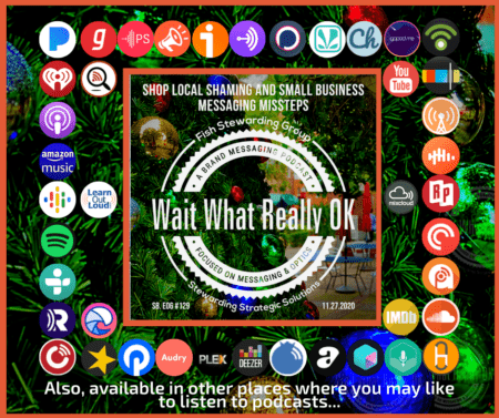 A distribution image showing a series of podcast site icons as well as a graphic for this weeks podcast and a christmas tree and lights behind it.