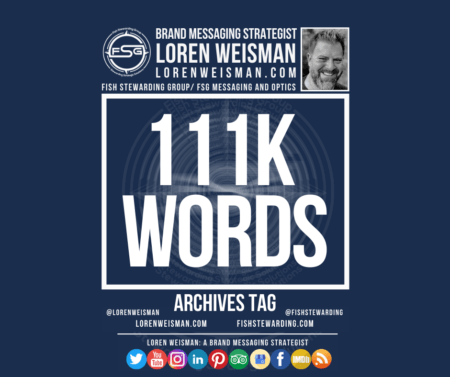 An archives tag graphic with a blue background and a white title inside of a white outlined rectangle that reads 111k words. Above is the FSG logo as well as some text and an image of Loren Weisman. Beneath the rectangle is some smaller text and a series of social media icons.