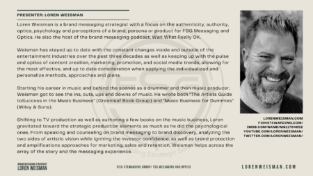 A tan graphic with an image of Loren Weisman and a lot of text that includes his bio.