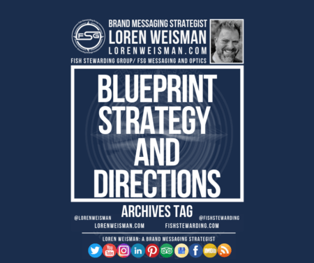 An archives tag graphic with a blue background and a white title inside of a white outlined rectangle that reads Blueprint Strategy and Directions. Above is the FSG logo as well as some text and an image of Loren Weisman. Beneath the rectangle is some smaller text and a series of social media icons.