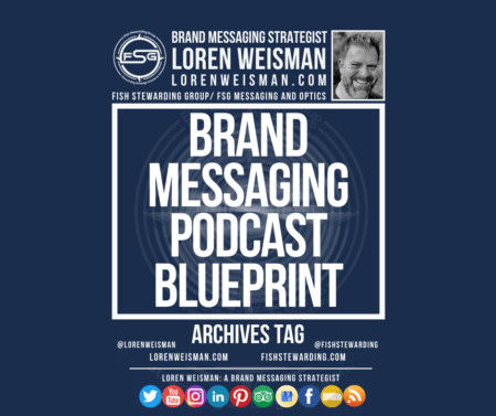 An archives tag graphic with a blue background and a white title inside of a white outlined rectangle that reads Brand Messaging Podcast Blueprint. Above is the FSG logo as well as some text and an image of Loren Weisman. Beneath the rectangle is some smaller text and a series of social media icons.