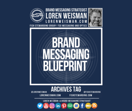 An archives tag graphic with a blue background and a white title inside of a white outlined rectangle that reads brand messaging blueprint. Above is the FSG logo as well as some text and an image of Loren Weisman. Beneath the rectangle is some smaller text and a series of social media icons.