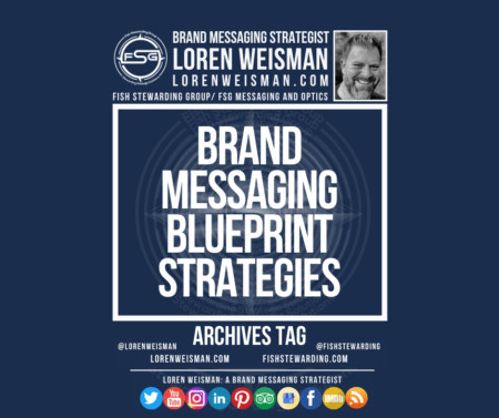 An archives tag graphic with a blue background and a white title inside of a white outlined rectangle that reads brand messaging blueprint strategies. Above is the FSG logo as well as some text and an image of Loren Weisman. Beneath the rectangle is some smaller text and a series of social media icons.