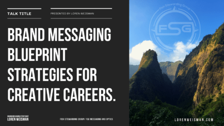 Talk Title Cover graphic with mountains from Maui on the right side and the text Brand Messaging Blueprint Strategies on the left with a watermark of the FSG logo.