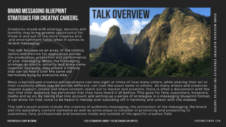 Talk Overview graphic with mountains from Maui on the right side and the text Brand Messaging Blueprint Strategies on the left with a watermark of the FSG logo.