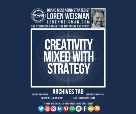 An archives tag graphic with a blue background and a white title inside of a white outlined rectangle that reads creativity mixed with strategy. Above is the FSG logo as well as some text and an image of Loren Weisman. Beneath the rectangle is some smaller text and a series of social media icons.