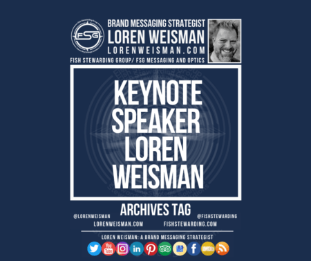 An archives tag graphic with a blue background and a white title inside of a white outlined rectangle that reads Keynote Speaker Loren Weisman. Above is the FSG logo as well as some text and an image of Loren Weisman. Beneath the rectangle is some smaller text and a series of social media icons.