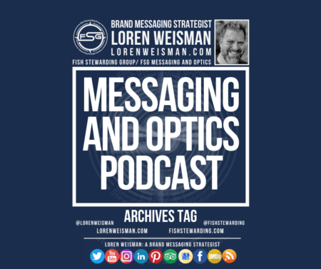 An archives tag graphic with a blue background and a white title inside of a white outlined rectangle that reads Messaging and Optics Podcast. Above is the FSG logo as well as some text and an image of Loren Weisman. Beneath the rectangle is some smaller text and a series of social media icons.