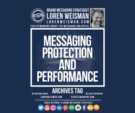 An archives tag graphic with a blue background and a white title inside of a white outlined rectangle that reads messaging protection and performance. Above is the FSG logo as well as some text and an image of Loren Weisman. Beneath the rectangle is some smaller text and a series of social media icons.