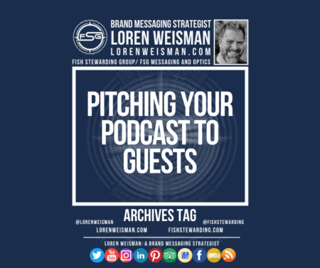 An archives tag graphic with a blue background and a white title inside of a white outlined rectangle that reads Pitching your podcast to guests. Above is the FSG logo as well as some text and an image of Loren Weisman. Beneath the rectangle is some smaller text and a series of social media icons.