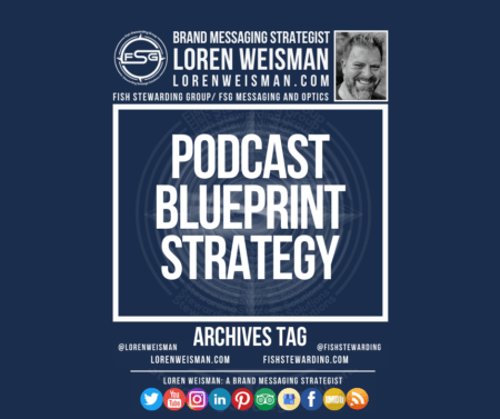 An archives tag graphic with a blue background and a white title inside of a white outlined rectangle that reads Podcast Blueprint Strategy. Above is the FSG logo as well as some text and an image of Loren Weisman. Beneath the rectangle is some smaller text and a series of social media icons.