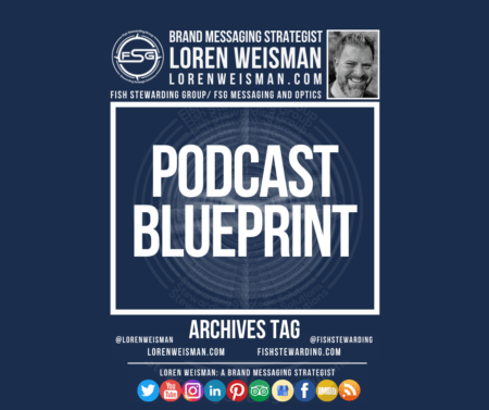 An archives tag graphic with a blue background and a white title inside of a white outlined rectangle that reads Podcast Blueprint. Above is the FSG logo as well as some text and an image of Loren Weisman. Beneath the rectangle is some smaller text and a series of social media icons.