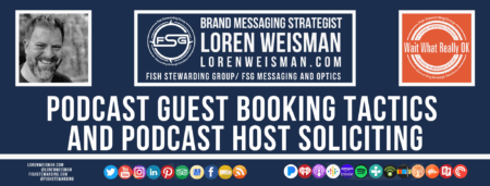 A footer graphic with a blue background and a white centered title that reads Podcast guest booking tactics and podcast host soliciting and images of Loren Weisman, The Wait What Really OK Logo as well as a center text that reads Brand Messaging Strategist Loren Weisman with and FSG logo and other text. Beneath the title image are some social media and podcast icons.