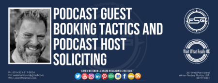 """A header graphic with a blue background and a white centered title that reads Podcast guest booking tactics and podcast host soliciting. To the left side is an image of Loren Weisman, to the right of the text is the Wait What Really OK Logo as well as the Fish Stewarding Group Logo. On the bottom of the image reads the text """"Loren Weisman: A brand messaging strategist with ten social media icons below it."""