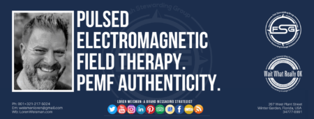"""A header graphic with a blue background and a white centered title that reads Pulsed electromagnetic field therapy. PEMF Authenticity. To the left side is an image of Loren Weisman, to the right of the text is the Wait What Really OK Logo as well as the Fish Stewarding Group Logo. On the bottom of the image reads the text """"Loren Weisman: A brand messaging strategist with ten social media icons below it."""