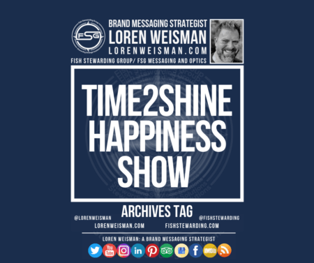 An archives tag graphic with a blue background and a white title inside of a white outlined rectangle that reads Time2Shine Happiness Show. Above is the FSG logo as well as some text and an image of Loren Weisman. Beneath the rectangle is some smaller text and a series of social media icons.