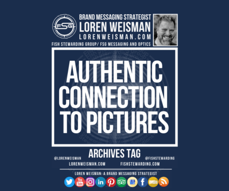 An archives tag graphic with a blue background and a white title inside of a white outlined rectangle that reads Authentic connection to pictures. Above is the FSG logo as well as some text and an image of Loren Weisman. Beneath the rectangle is some smaller text and a series of social media icons.