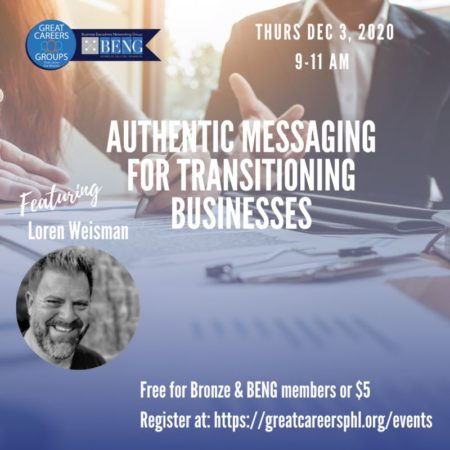 An image of a man showing documents to another man with the title in front that reads Authentic messaging strategies for transitioning businesses as well as an image of Loren Weisman and some other text