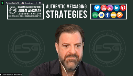 An image of Loren Weisman with a green background and some social media icons above his head with two FSG water mark logos on either side of him.