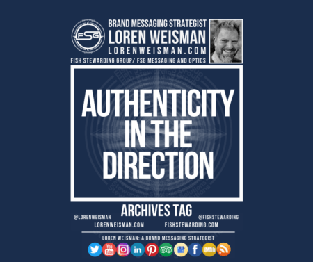 """An archives tag with a centered white text that reads """"Authenticity in direction"""" it is surrounded by an image of Loren Weisman as well as the FSG logo, some text and a series of social media icons on the bottom of the image."""