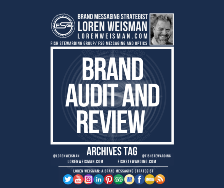 An archives tag graphic with a blue background and a white title inside of a white outlined rectangle that reads brand audit and review. Above is the FSG logo as well as some text and an image of Loren Weisman. Beneath the rectangle is some smaller text and a series of social media icons.