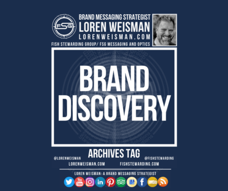 An archives tag graphic with a blue background and a white title inside of a white outlined rectangle that reads Brand Discovery. Above is the FSG logo as well as some text and an image of Loren Weisman. Beneath the rectangle is some smaller text and a series of social media icons.