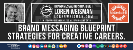 A footer graphic with a brown background and a white centered title that reads brand messaging blueprint strategies. Above are images of Loren Weisman, The Wait What Really OK Logo as well as a center text that reads Brand Messaging Strategist Loren Weisman with and FSG logo and other text. Beneath the title image are some social media and podcast icons.