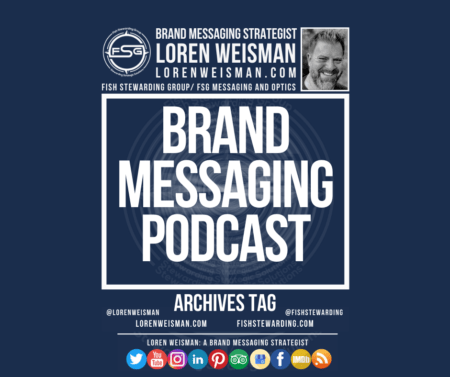 An archives tag graphic with a blue background and a white title inside of a white outlined rectangle that reads brand messaging podcast. Above is the FSG logo as well as some text and an image of Loren Weisman. Beneath the rectangle is some smaller text and a series of social media icons.