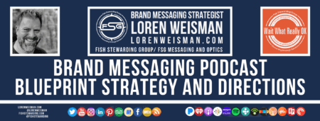 A footer graphic with a blue background and a white centered title that reads Brand Messaging Podcast Blueprint Strategy and Directions. Above are images of Loren Weisman, The Wait What Really OK Logo as well as a center text that reads Brand Messaging Strategist Loren Weisman with and FSG logo and other text. Beneath the title image are some social media and podcast icons.