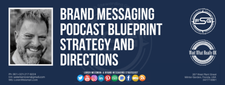 "A header graphic with a brown background and a white centered title that reads Brand Messaging Podcast Blueprint Strategy and Directions. To the left side is an image of Loren Weisman, to the right of the text is the The Wait What Really OK Logo as well as the Fish Stewarding Group Logo. On the bottom of the image reads the text ""Loren Weisman: A brand messaging strategist with ten social media icons below it."