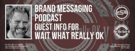 A header graphic with a text title that reads brand messaging podcast guest info for wait what really ok on a dark orange background with watermarks of the Wait What Really OK logo in the background as well as an image of Loren Weisman and the FSG logo too.