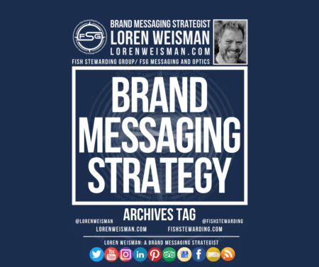 An archives tag graphic with a blue background and a white title inside of a white outlined rectangle that reads brand messaging strategy. Above is the FSG logo as well as some text and an image of Loren Weisman. Beneath the rectangle is some smaller text and a series of social media icons.