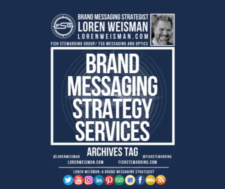 An archives tag graphic with a blue background and a white title inside of a white outlined rectangle that reads brand messaging strategy services. Above is the FSG logo as well as some text and an image of Loren Weisman. Beneath the rectangle is some smaller text and a series of social media icons.