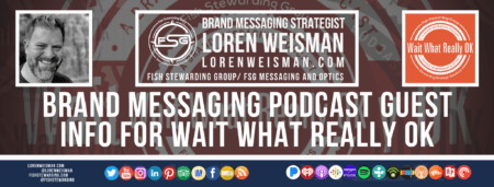 A footer graphic with a dark orange background and a white centered title that reads Brand Messaging Podcast Guest info for Wait Whaat Really OK. Above are images of Loren Weisman, The Wait What Really OK Logo as well as a center text that reads Brand Messaging Strategist Loren Weisman with and FSG logo and other text. Beneath the title image are some social media and podcast icons.
