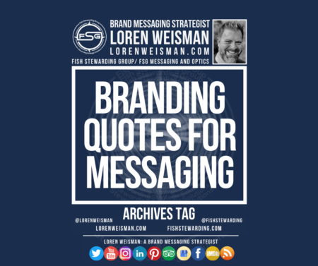 An archives tag graphic with a blue background and a white title inside of a white outlined rectangle that reads Branding quotes for messaging. Above is the FSG logo as well as some text and an image of Loren Weisman. Beneath the rectangle is some smaller text and a series of social media icons.