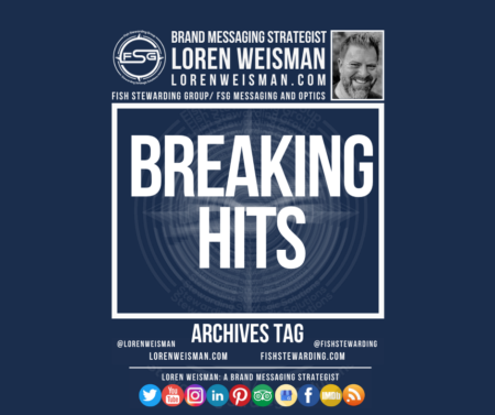 An archives tag graphic with a blue background and a white title inside of a white outlined rectangle that reads breaking hits. Above is the FSG logo as well as some text and an image of Loren Weisman. Beneath the rectangle is some smaller text and a series of social media icons.