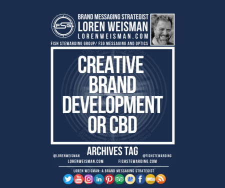 An archives tag graphic with a blue background and a white title inside of a white outlined rectangle that reads creative brand development or cbd. Above is the FSG logo as well as some text and an image of Loren Weisman. Beneath the rectangle is some smaller text and a series of social media icons.