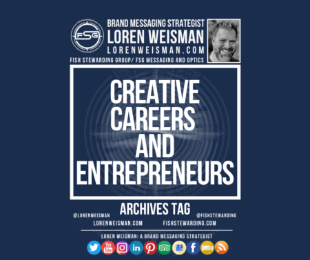 An archives tag graphic with a blue background and a white title inside of a white outlined rectangle that reads creative careers and entrepreneurs. Above is the FSG logo as well as some text and an image of Loren Weisman. Beneath the rectangle is some smaller text and a series of social media icons.