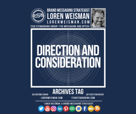 An archives tag graphic with a blue background and a white title inside of a white outlined rectangle that reads Direction and Consideration. Above is the FSG logo as well as some text and an image of Loren Weisman. Beneath the rectangle is some smaller text and a series of social media icons.