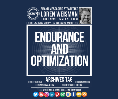 An archives tag graphic with a blue background and a white title inside of a white outlined rectangle that reads Endurance and optimization. Above is the FSG logo as well as some text and an image of Loren Weisman. Beneath the rectangle is some smaller text and a series of social media icons.