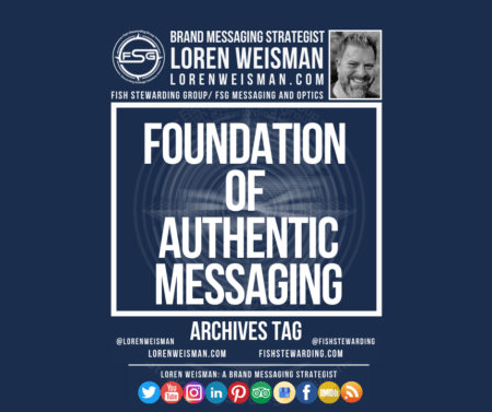 An archives tag graphic with a blue background and a white title inside of a white outlined rectangle that reads Foundation of authentic messaging. Above is the FSG logo as well as some text and an image of Loren Weisman. Beneath the rectangle is some smaller text and a series of social media icons.