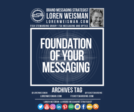 An archives tag graphic with a blue background and a white title inside of a white outlined rectangle that reads Foundation of your messaging. Above is the FSG logo as well as some text and an image of Loren Weisman. Beneath the rectangle is some smaller text and a series of social media icons.