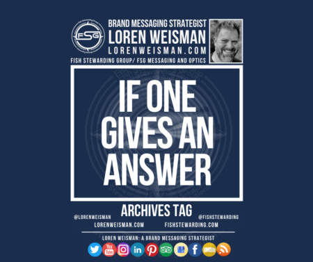 An archives tag graphic with a blue background and a white title inside of a white outlined rectangle that reads If one gives an answer. Above is the FSG logo as well as some text and an image of Loren Weisman. Beneath the rectangle is some smaller text and a series of social media icons.