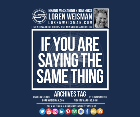 An archives tag graphic with a blue background and a white title inside of a white outlined rectangle that reads If you are saying the same thing. Above is the FSG logo as well as some text and an image of Loren Weisman. Beneath the rectangle is some smaller text and a series of social media icons.